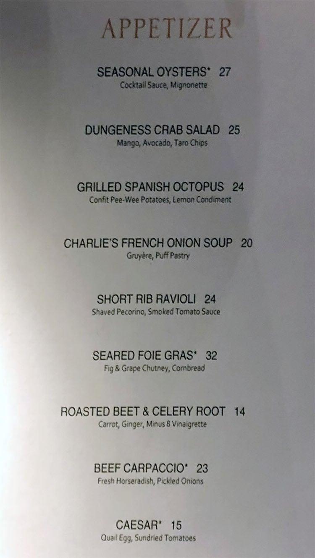 Aureole menu - appetizers