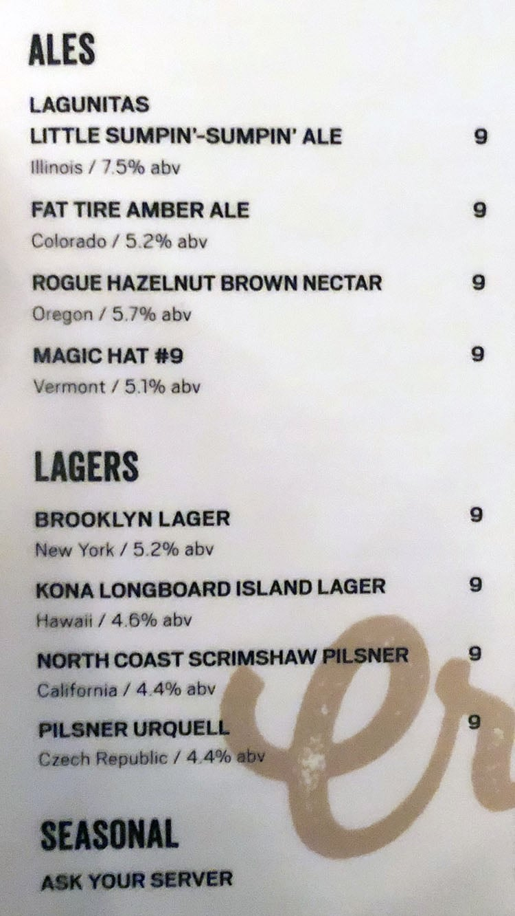 Citizens Kitchen And Bar menu - ales, lagers