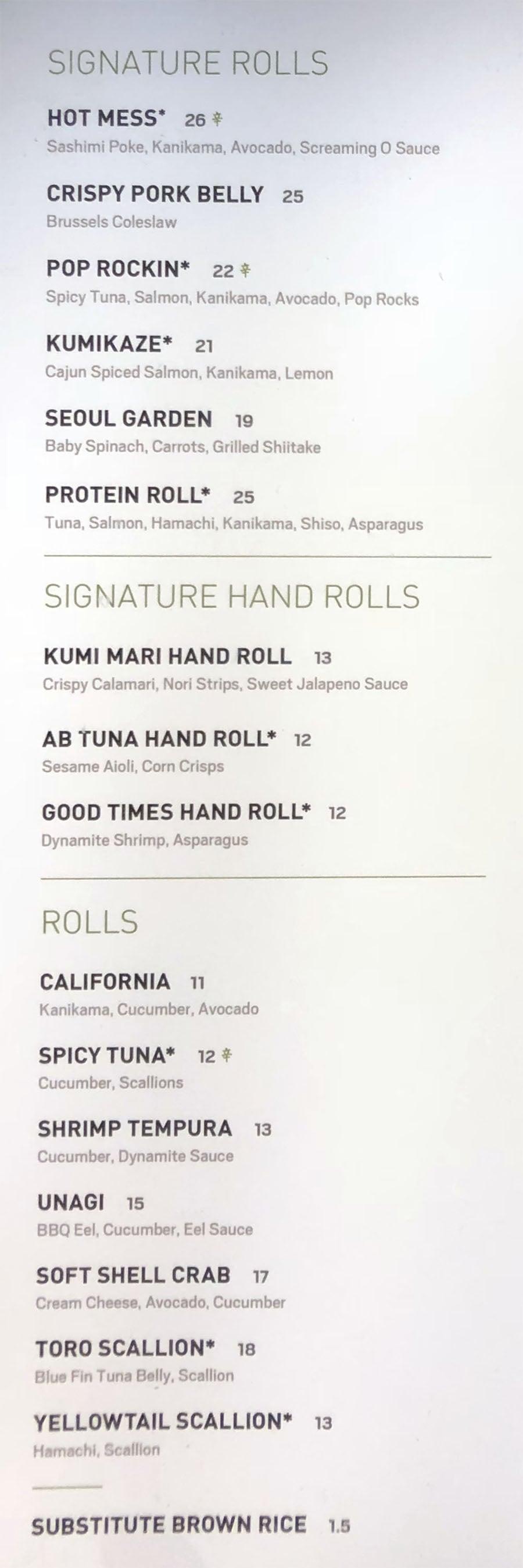 Kumi Japanese Restaurant menu - signature rolls, hand rolls, rolls