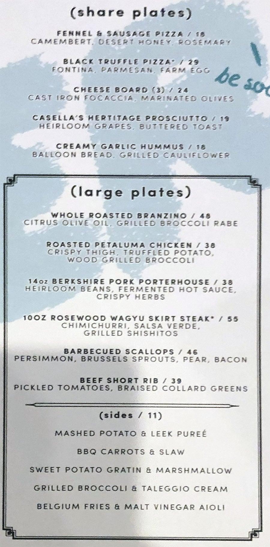 Libertine Social menu - share plates, large plates