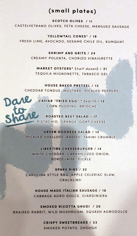 Libertine Social menu - small plates