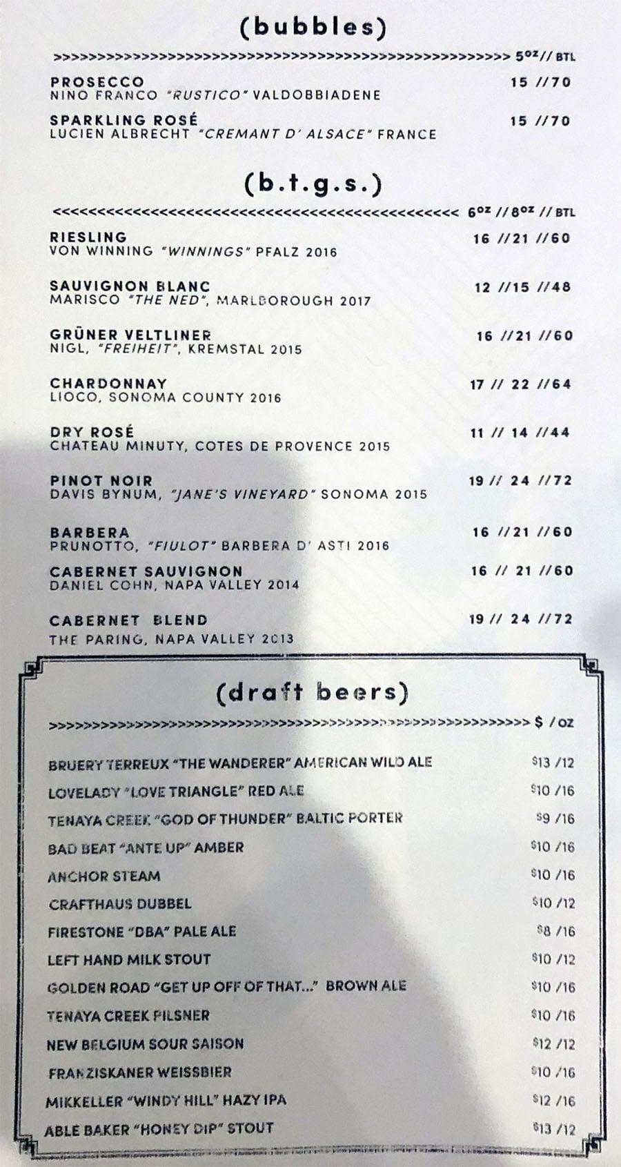 Libertine Social menu - wine, beer
