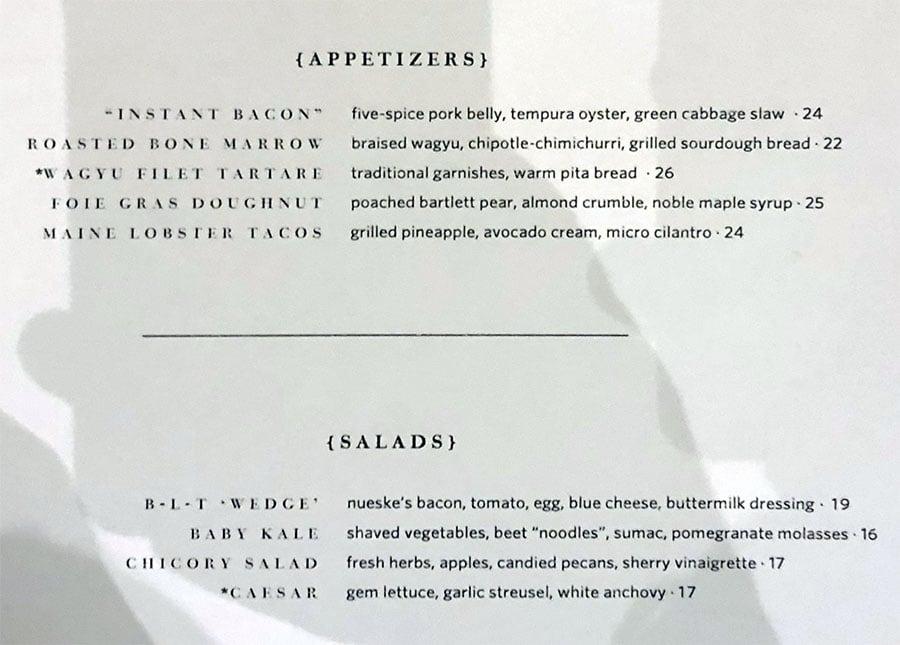 STRIPSTEAK menu - appetizers, salads bar