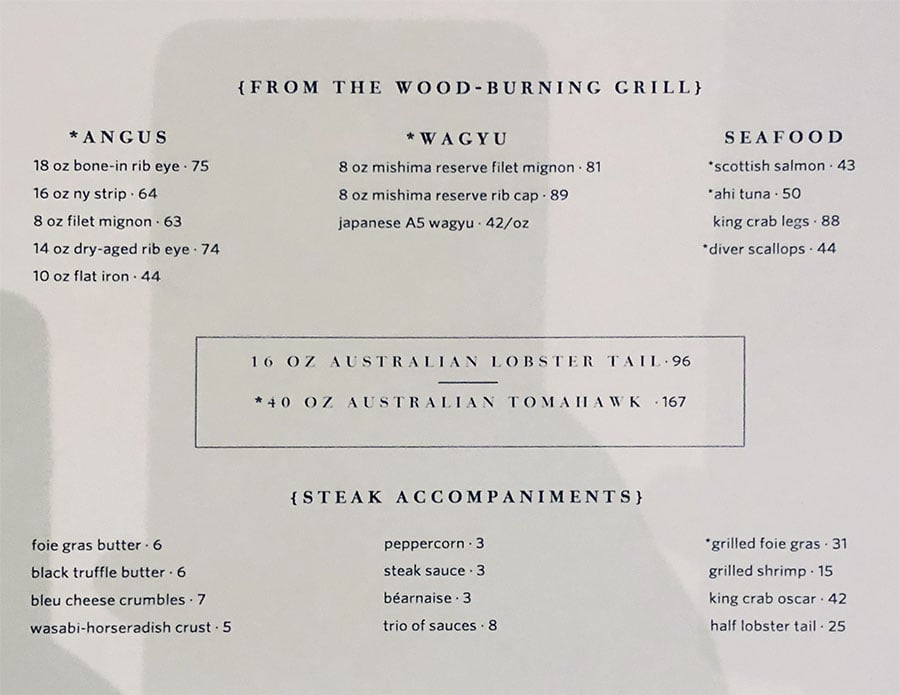 STRIPSTEAK menu - from the grill, steaks, seafood