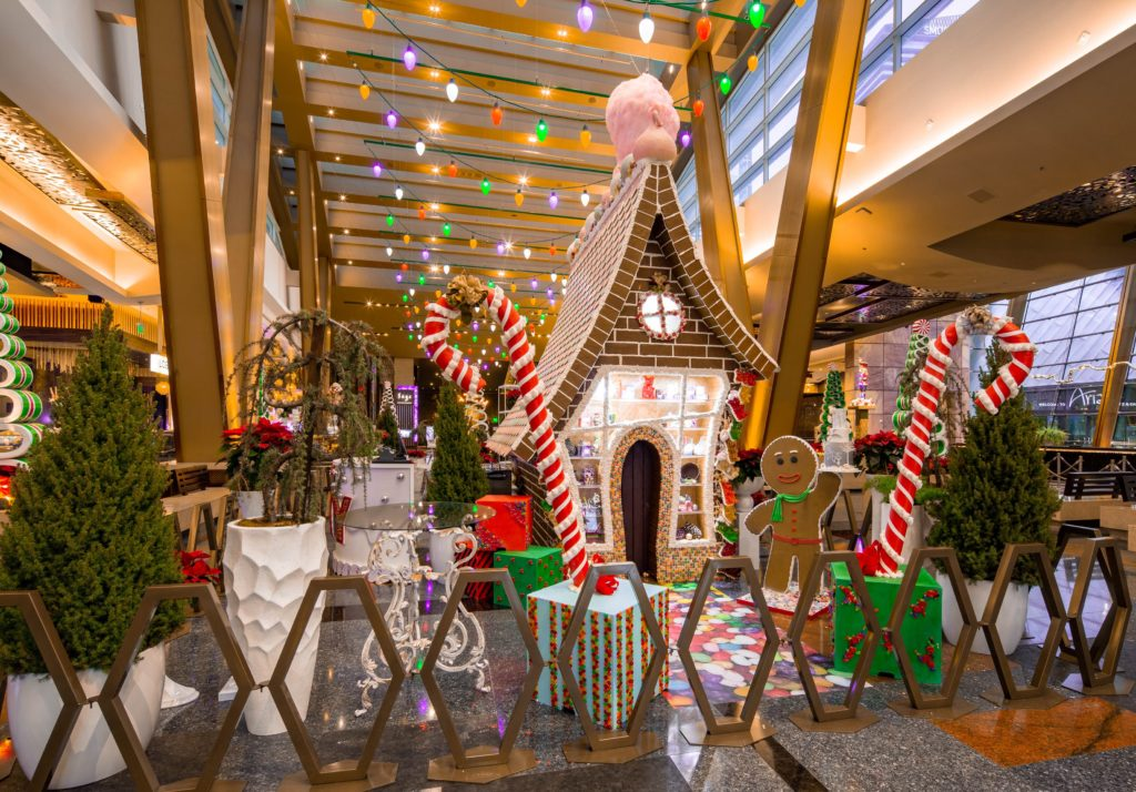 Life sized gingerbread house at ARIA for 2019 (MGM)