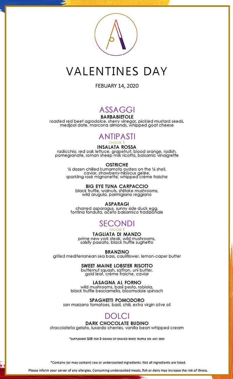 Ambra Valentines Day 2020 menu
