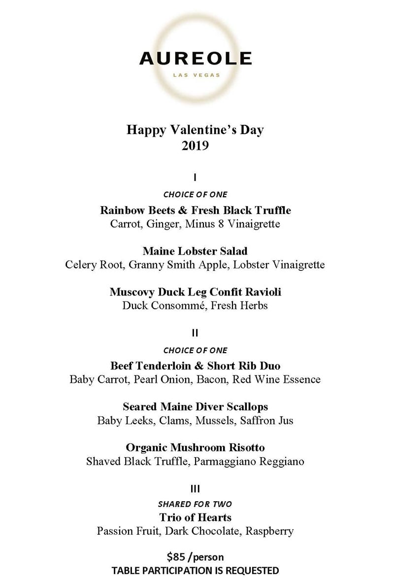 Aureole Valentines Day Menu