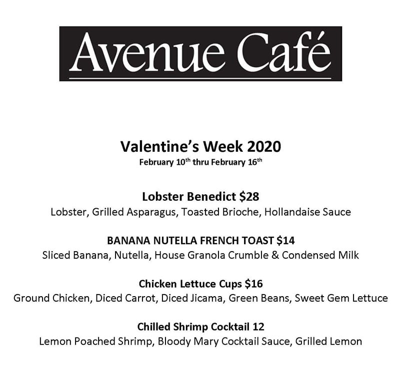Avenue Cafe 2020 Valentines