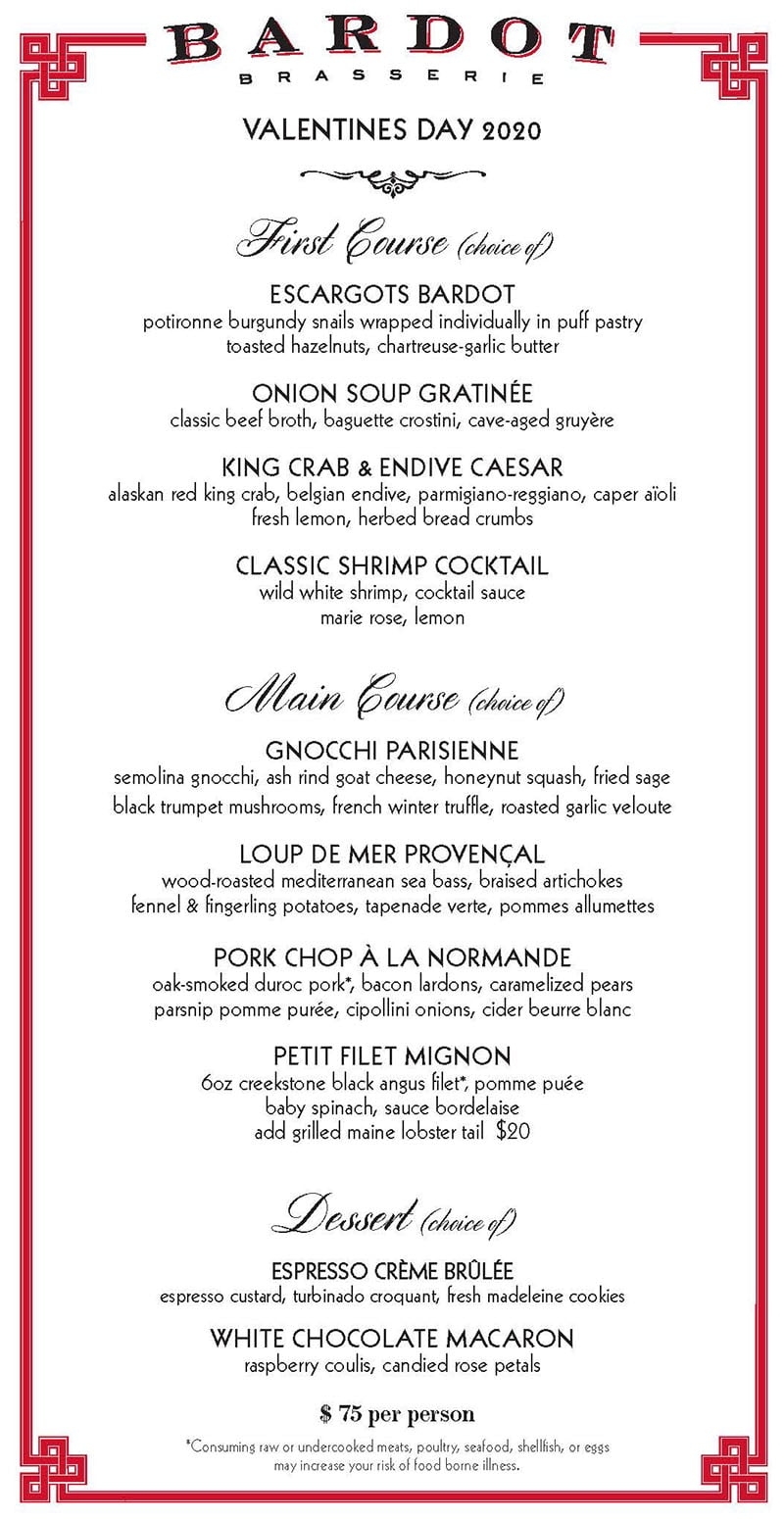 BARDOT Brasserie Valentines Day menu