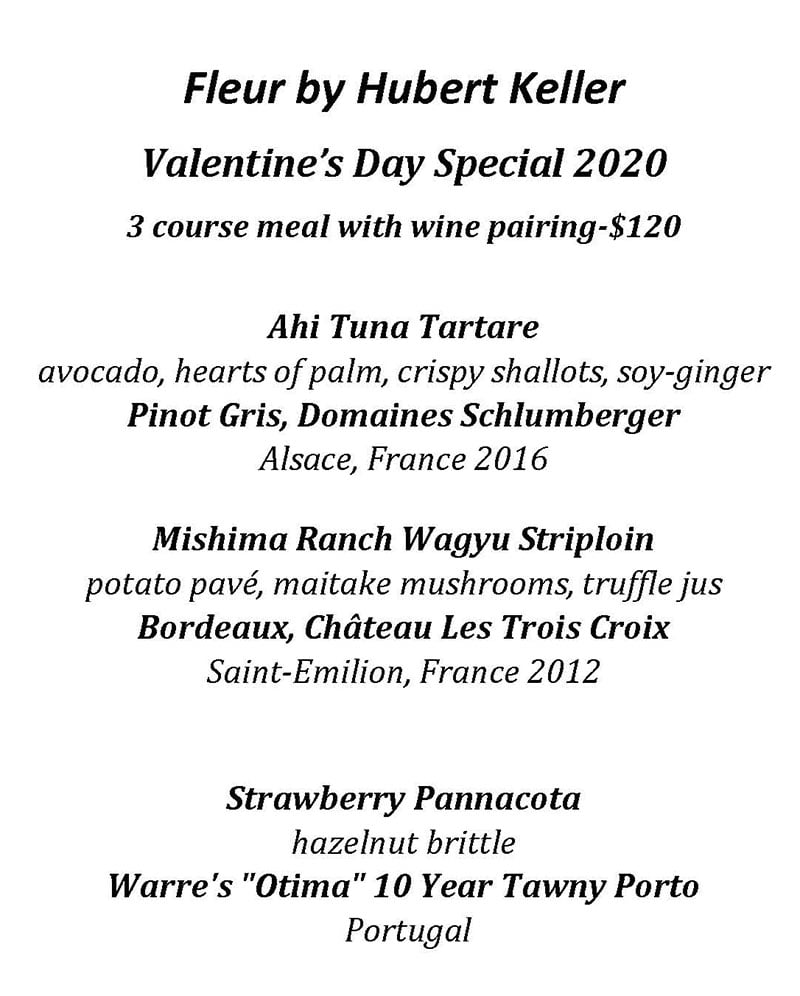 Fleur by Hubert Keller  valentines day menu