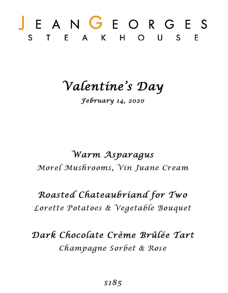 Jean Georges Steakhouse Valentines Day 2020