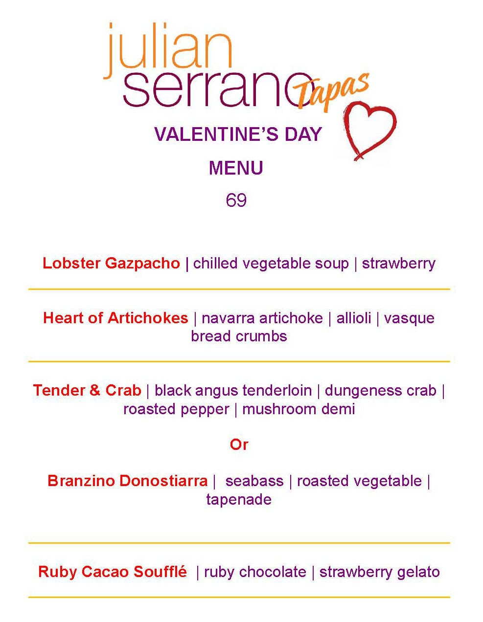 Julian Serrano Valentines Day Menu