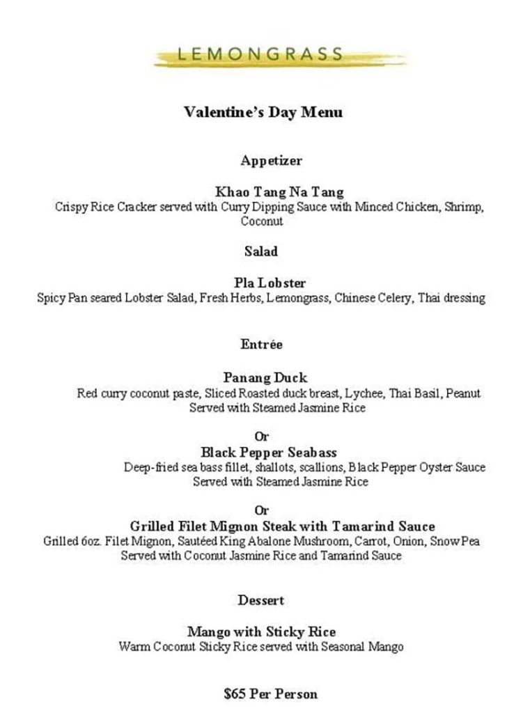 Lemongrass Valentines Menu 2020
