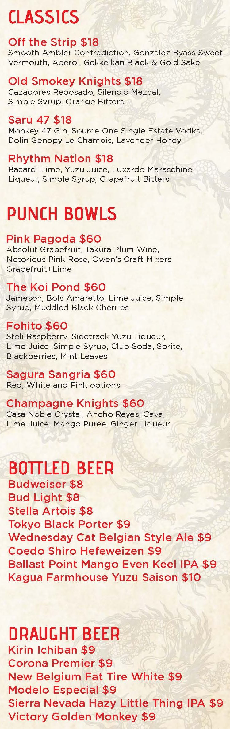Sake Rok Las Vegas menu - classic cocktails, punch bowls, beers