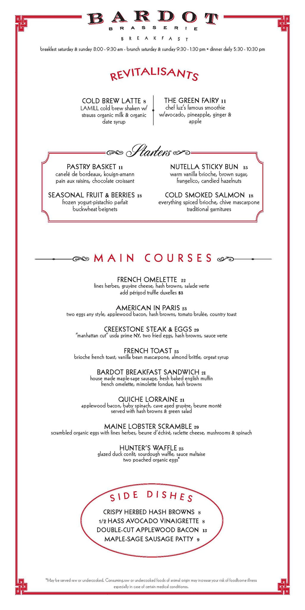 Bardot Brasserie breakfast menu