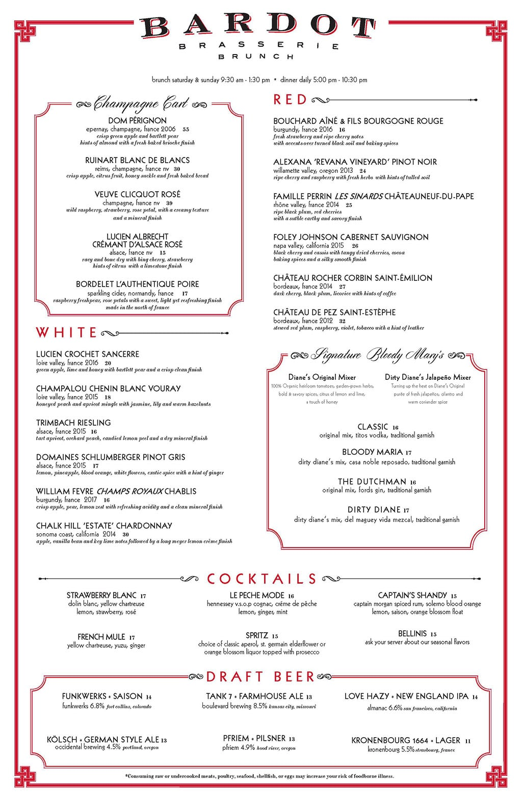 Bardot Brasserie brunch menu - wine, beer, cocktails