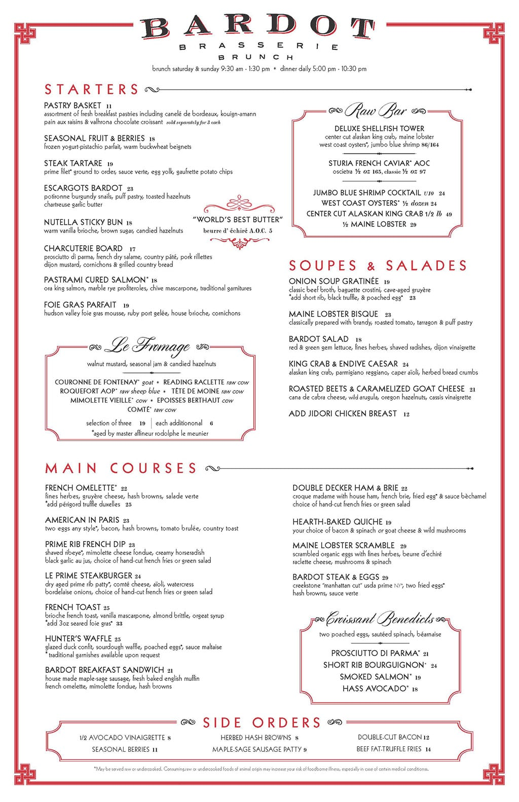 Bardot Brasserie brunch menu