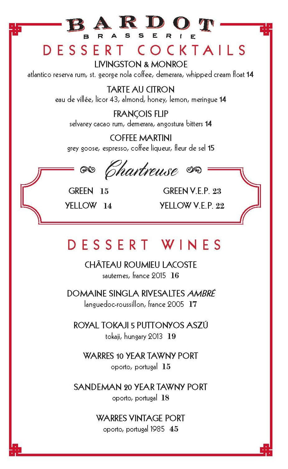Bardot Brasserie dinner menu - dessert cocktails