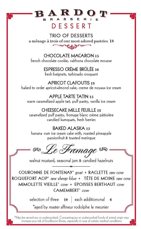 Bardot Brasserie dinner menu - desserts