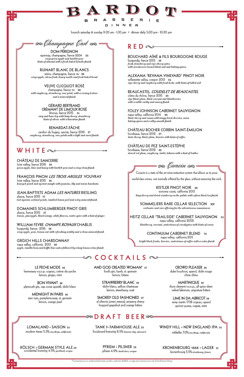 Bardot Brasserie dinner menu - wine
