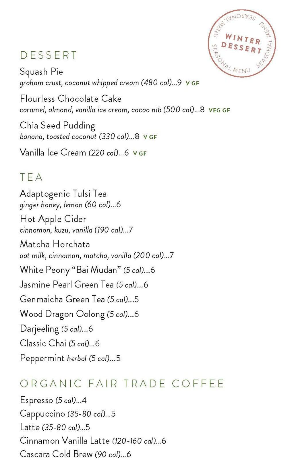 True Food Kitchen menu - dessert