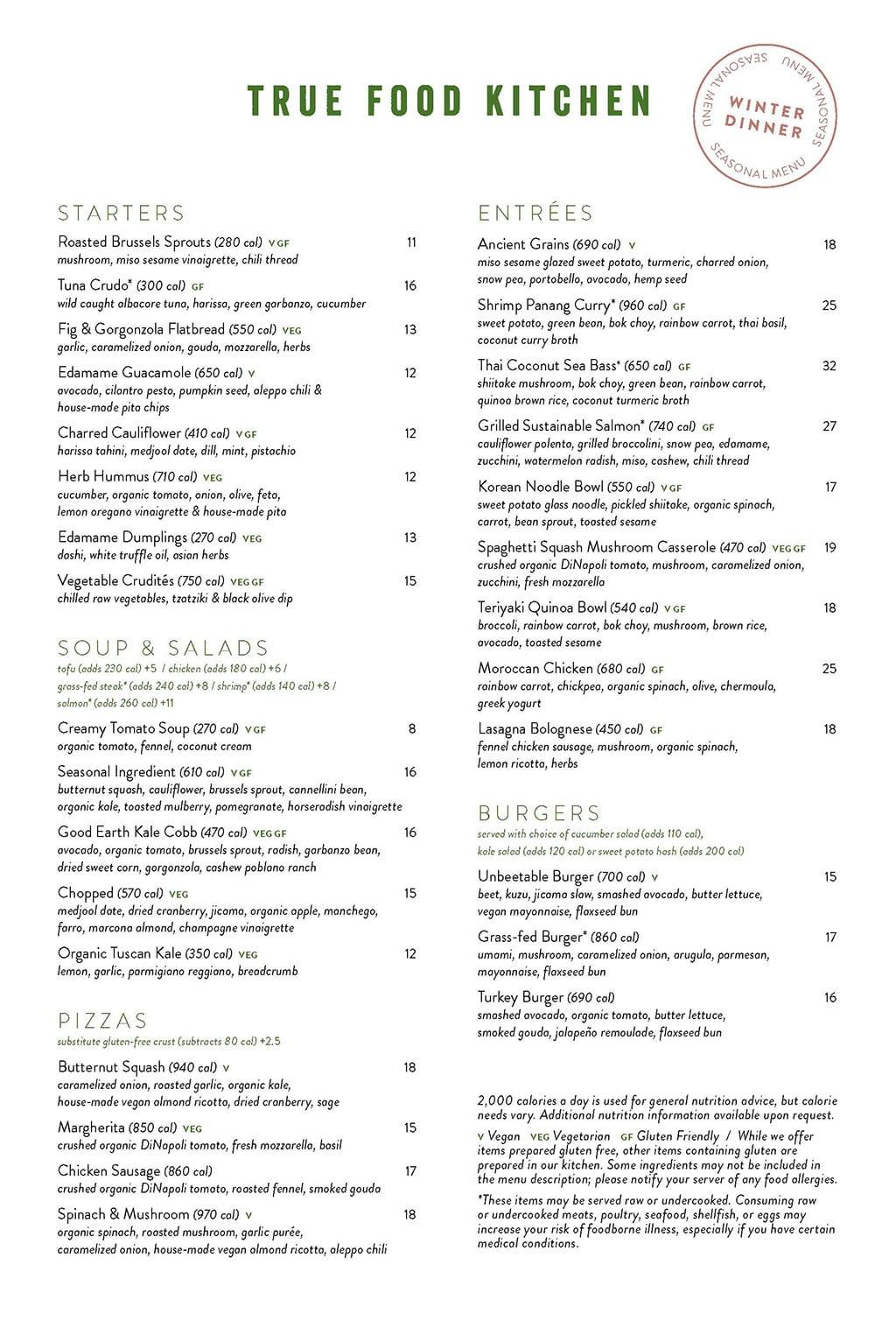 True Food Kitchen menu - dinner