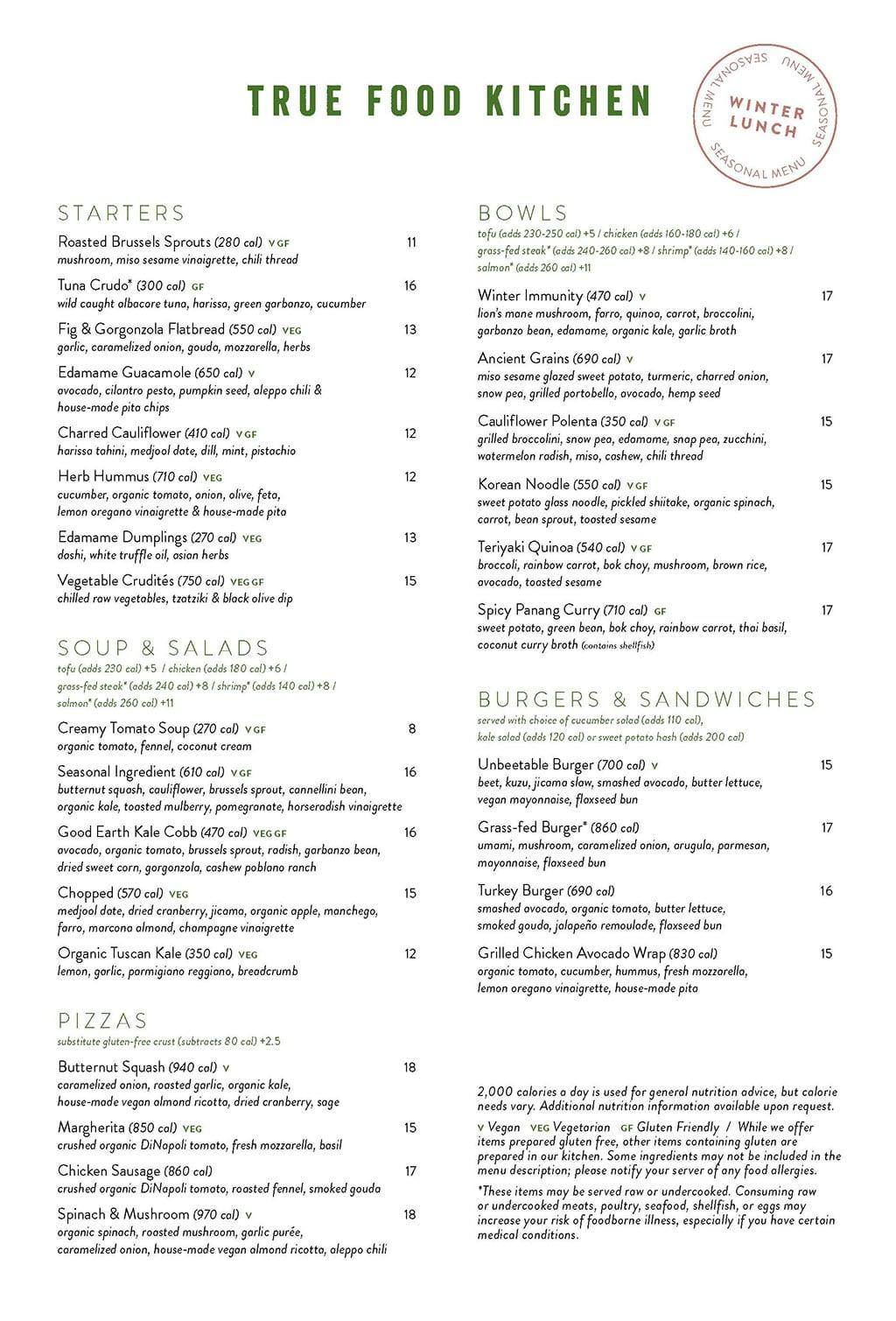 True Food Kitchen menu - lunch