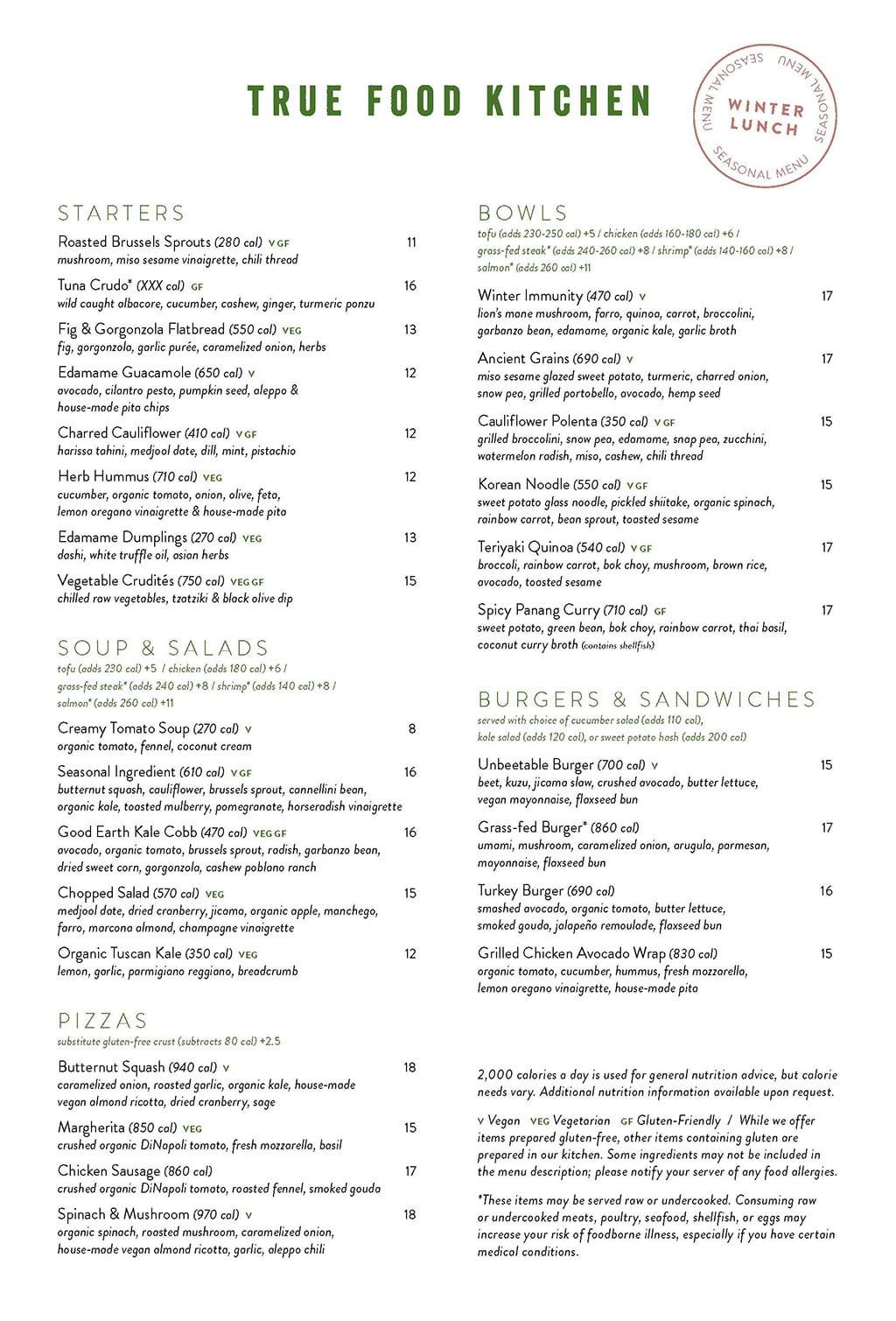 True Food Kitchen menu - lunch 1