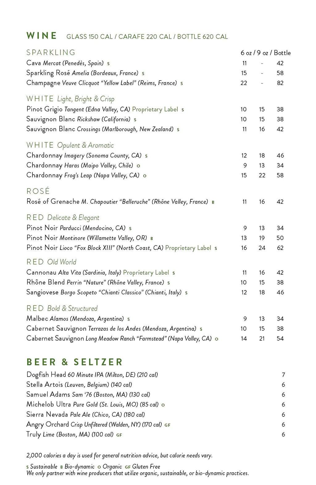 True Food Kitchen menu - wine and beer