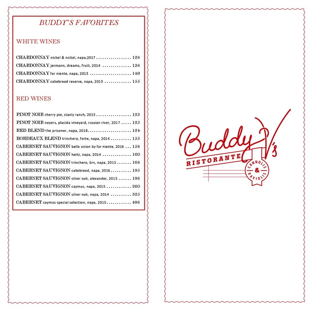 Buddy V's Ristorante bar menu - wines