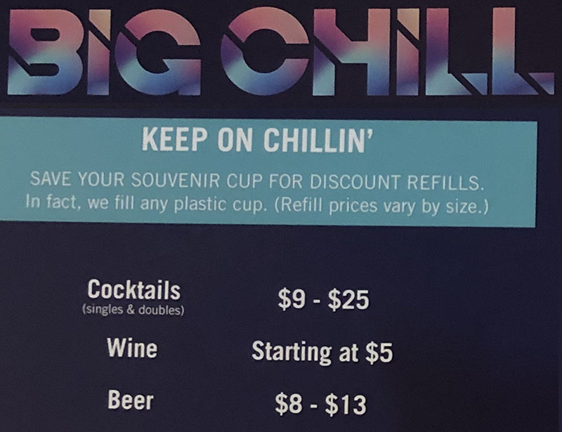 Big Chill menu prices