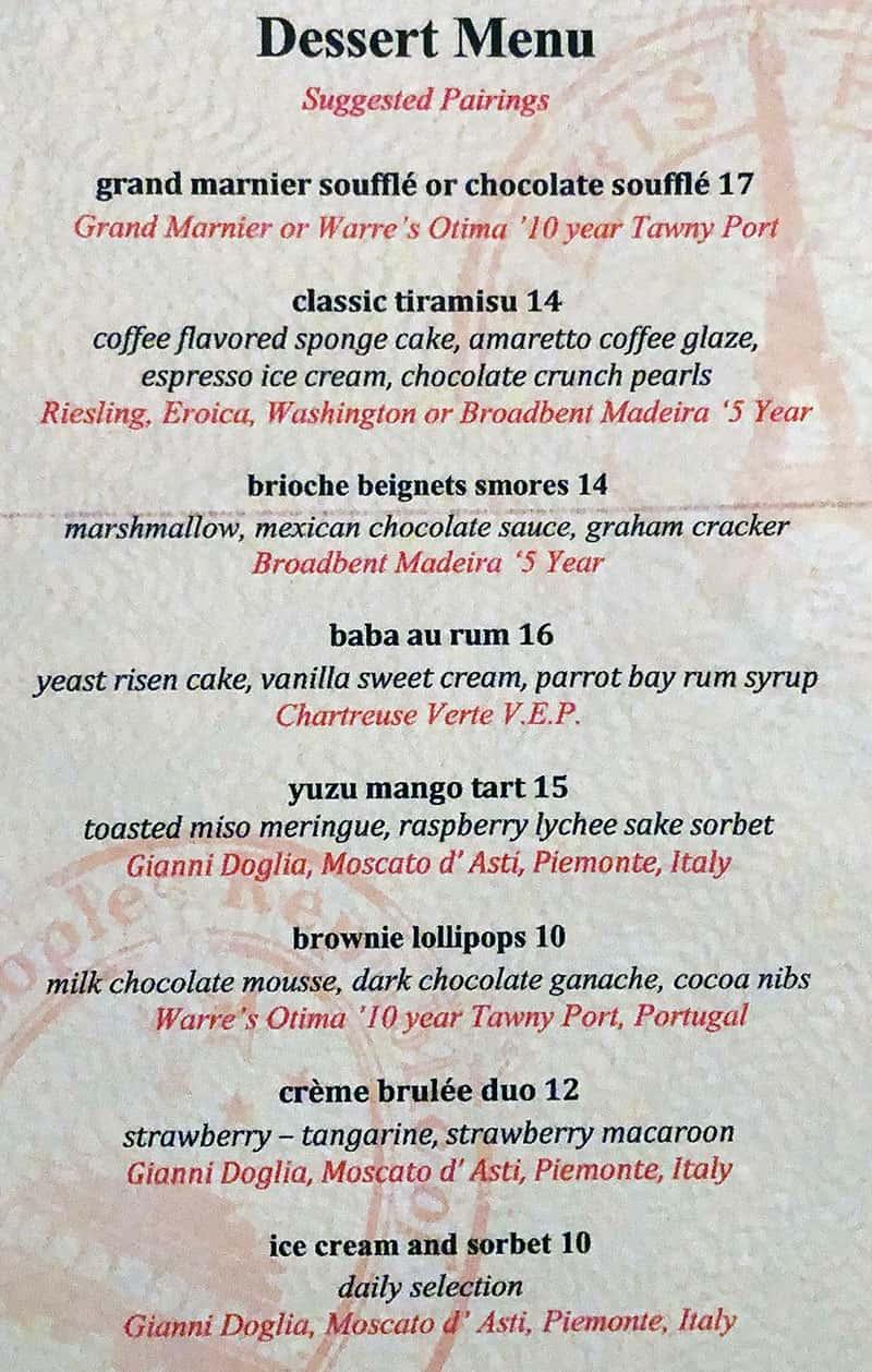 Fleur Las Vegas menu - dessert