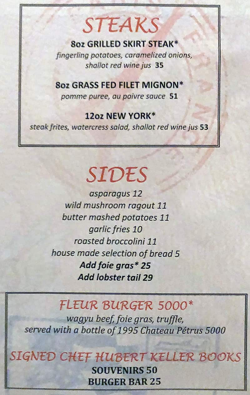 Fleur Las Vegas menu - steaks, sides