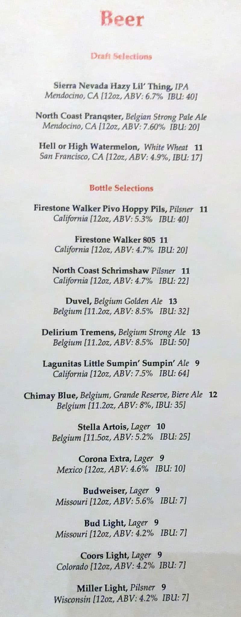 Fleur menu - beer
