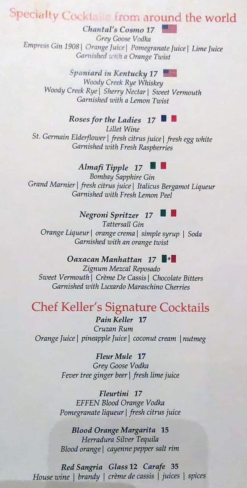 Fleur menu - cocktails