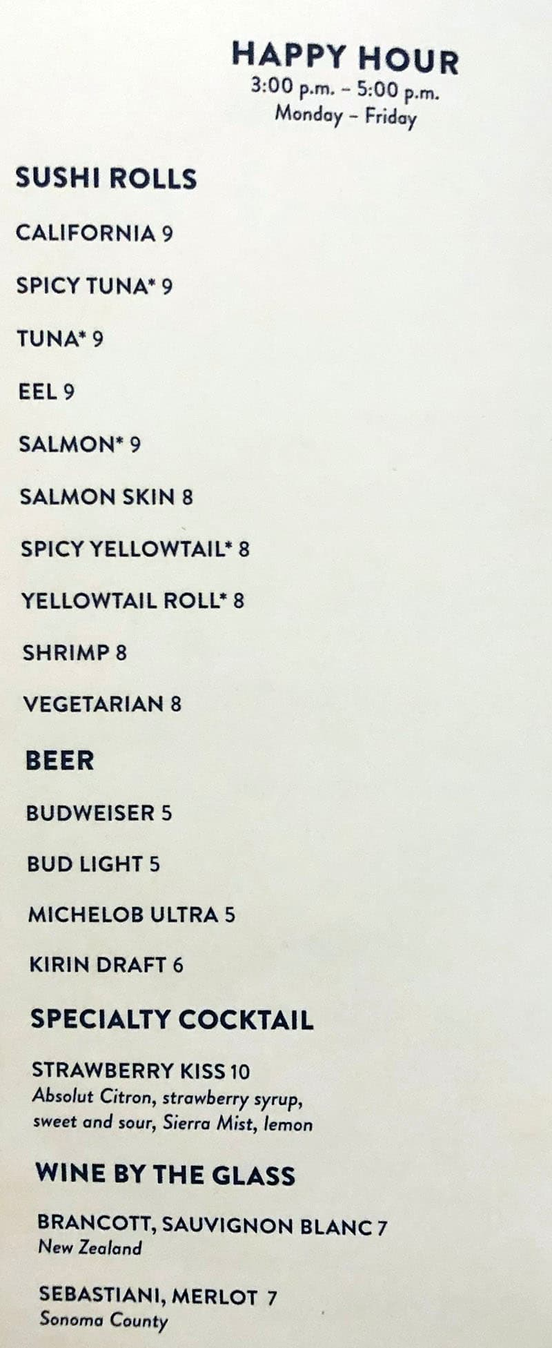 Mizuya Mandalay Bay menu - happy hour